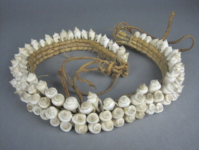 Shell adornment, possibly a belt from the Mortlock Islands, date and maker unknown. Rotorua Museum (1998.116.20)