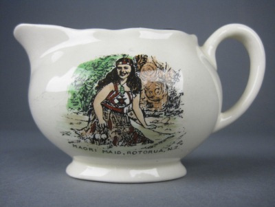 Porcelain souvenir ware jug, date unknown, made by Lancaster and Sandland Ltd, England. Rotorua Museum (2005.144.47)