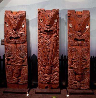 Taonga Maori 2 (Pou from Nuku Te Api Api – gallery shot): Three poupou from the porch of Nuku Te Api Api, Whakarewarewa, courtesy of Te Arawa Lakes Trust (LX-524,525,553)