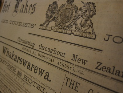 Front page of the Hot Lakes Chronicle newspaper (detail), 7 August 1895. Rotorua Museum