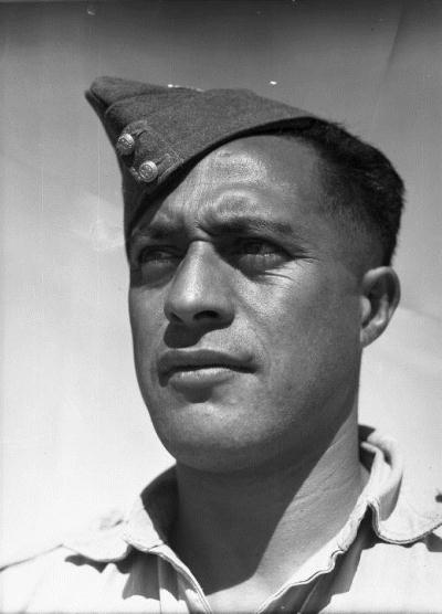 Sergeant Haane Mānahi at Maadi, Egypt, about 10 June 1943. Photograph by George Robert Bull  (1910-1966), courtesy Alexander Turnbull Library (DA-04139) http://natlib.govt.nz/records/23047673